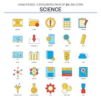 Progettazione piana delle icone di concetto di affari di insieme dell'icona della linea piana di scienza