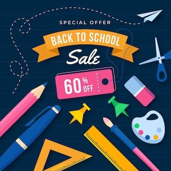 Progettazione piana di nuovo all'illustrazione di vendite della scuola con testo