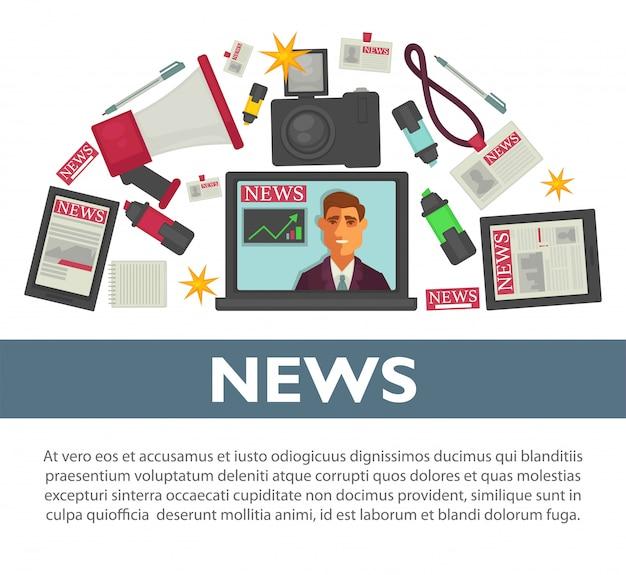 Progettazione piana di vettore del manifesto di notizie degli oggetti di lavoro di professione del giornalista e del reporter della tv