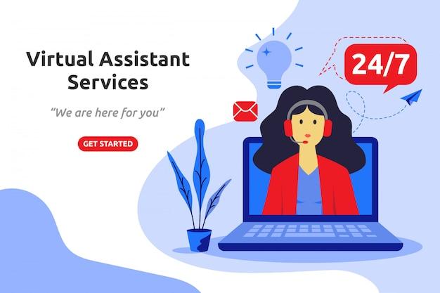 Progettazione piana moderna di concetto di servizi di assistenza virtuale