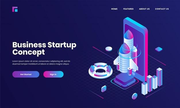 Progettazione porpora della pagina di atterraggio del sito web con l'illustrazione 3d dello smartphone, del razzo e del grafico infographic per il concetto di avvio di affari.