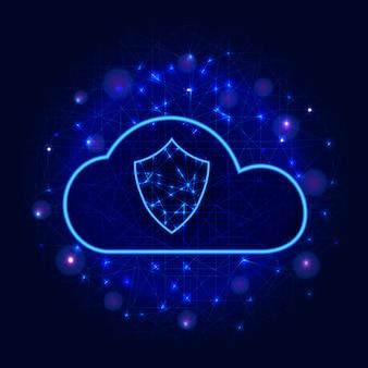 Progettazione protetta della tecnologia di archiviazione dei dati del cloud concetto di business della sicurezza informatica con scudo