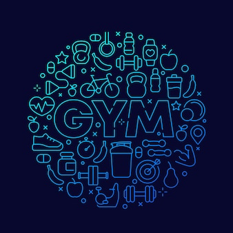 Progettazione rotonda di vettore della palestra con le icone di linea fitness