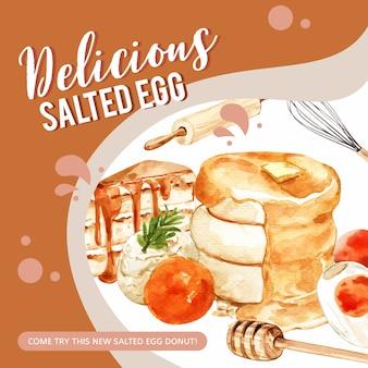 Progettazione salata dell'insegna dell'uovo con il dolce, pancake, illustrazione dell'acquerello del matterello.