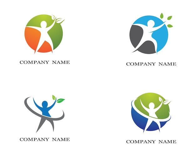 Progettazione sana dell'illustrazione dell'icona di vettore del modello di logo di vita