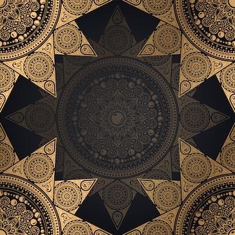 Progettazione senza cuciture del fondo del modello della mandala nel colore nero e dorato