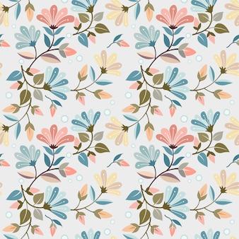 Progettazione senza cuciture di vettore del modello dei fiori disegnati a mano variopinti. può usare per carta da parati in tessuto.