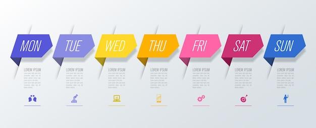 Progettazione settimanale di infografiche da lunedì a domenica