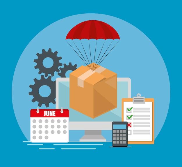 Progettazione stabilita dell'illustrazione di vettore delle icone di servizio di distribuzione