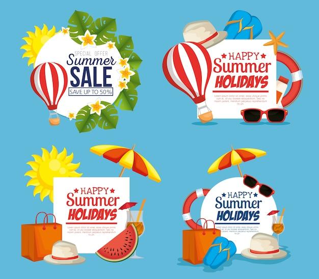 Progettazione stabilita dell'illustrazione di vettore delle icone di vendita di estate