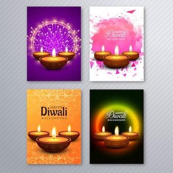 Progettazione stabilita dell'opuscolo del modello della cartolina d'auguri di bella diwali