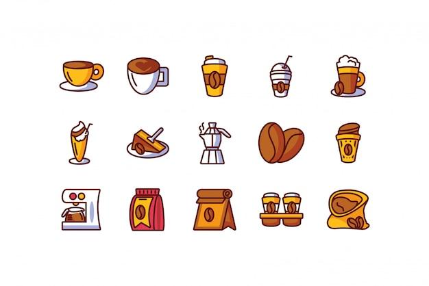 Progettazione stabilita di vettore dell'icona isolata del caffè