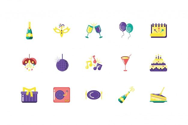 Progettazione stabilita di vettore dell'icona isolata del partito