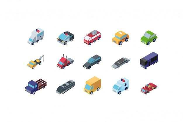Progettazione stabilita isolata dell'icona delle automobili isometriche