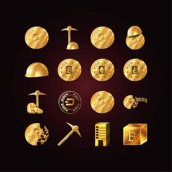 Progettazione stabilita isolata di vettore dell'icona del bitcoin e dei soldi