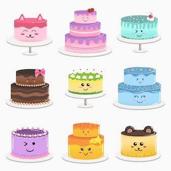 Progettazione sveglia del fumetto di scarabocchio di vettore della torta di compleanno di kawaii