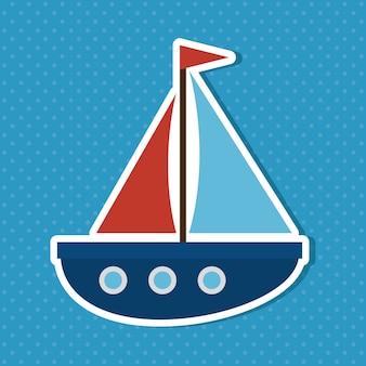 Progettazione sveglia dell'illustrazione di vettore dell'icona del bambino della barca a vela