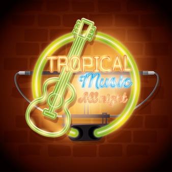 Progettazione tropicale dell'illustrazione di vettore dell'etichetta del neon della barra di musica
