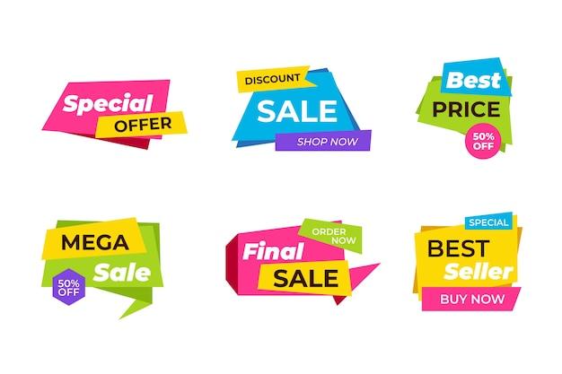 Progettazione variopinta della raccolta dell'insegna di vendite