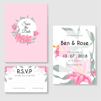 Progetti i fogli botanici di verde della carta dell'invito dei modelli e il fiore rosa del giglio