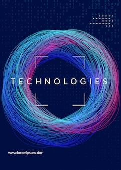 Progetto di copertina di calcolo quantistico. tecnologia per big data