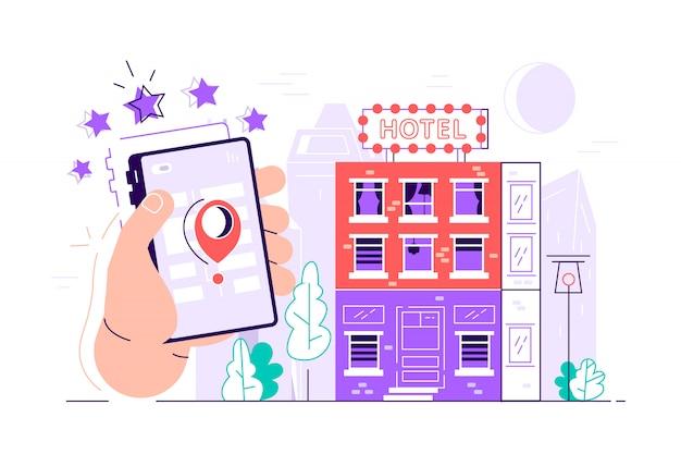 Progetto di ricerca e prenotazione di hotel online. edificio dell'hotel dettagliato e interfaccia dell'applicazione di prenotazione. smart phone della holding della mano. illustrazione moderna di progettazione di stile piano isolata.