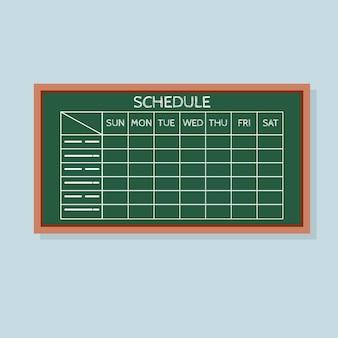 Programma con tabella orari della griglia sulla lavagna verde.