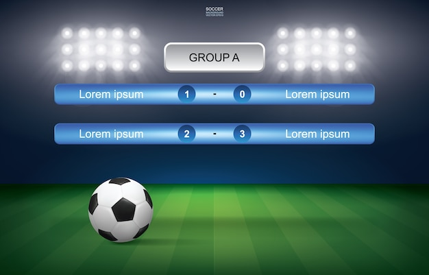 Programma della partita della tazza di calcio di calcio con il fondo dello stadio.