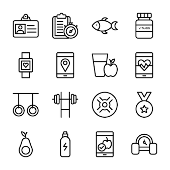 Programma di dieta, supplemento di sport, collezione di icone di nutrizione