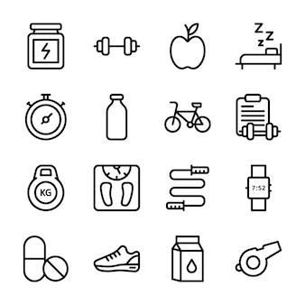 Programma di dieta, supplemento di sport, pacchetto di icone di nutrizione