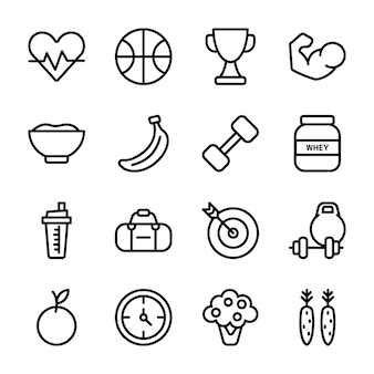 Programma di dieta, supplemento di sport, set di icone di nutrizione
