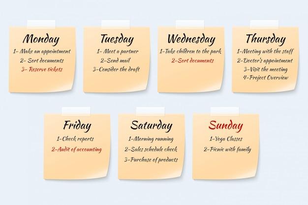 Programma di lavoro settimanale sulle note appiccicose, insieme di vettore di appunto di carta di evento di lavoro brutto