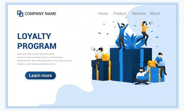 Programma fedeltà e concetto di premi con persone felici vicino a grandi scatole regalo.