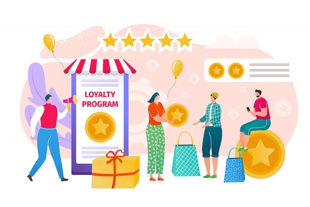Programma fedeltà per il concetto di promozione, illustrazione. marketing per il carattere del cliente, condivisione del commercio creativo. le persone invitano a riferire amici, sconti pubblicitari e bonus.