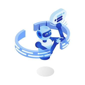 Programma robot futuristico, assistente virtuale, chatbot, personaggio dei cartoni animati 3d.