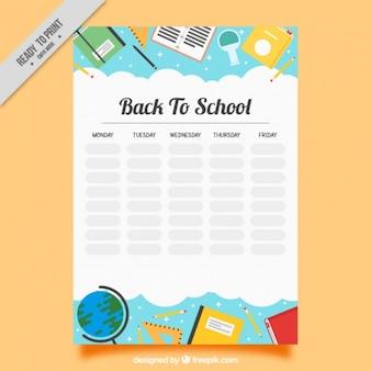Programma settimanale con oggetti di scuola