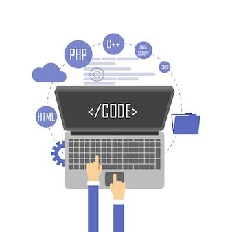 Programmatore allo scrittorio del computer che lavora all'illustrazione di programma