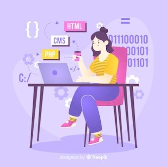 Programmatore che lavora con cms