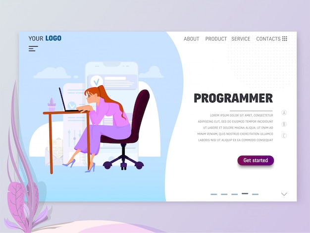 Programmatore di giovane ragazza al lavoro in ufficio