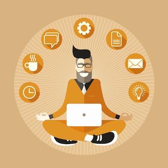 Programmatore hipster barbuto e occhialuto con un computer portatile che medita in sukhasana easy pose.