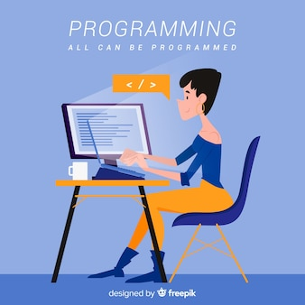 Programmatore in stile cartone animato che lavora