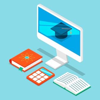 Programmatore informatico di autoistruzione, analisi commerciale. monitor di computer con cappello del college, libri e calcolatrice per la scienza online di autoeducazione.
