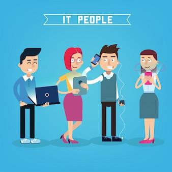 Programmatore it persone con laptop, donna con tavoletta