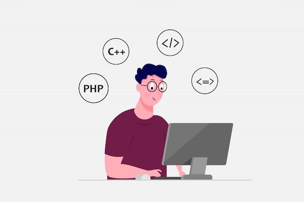 Programmatore lavora al computer