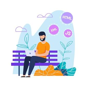 Programmatore o web designer lavorare in modo disteso sul laptop