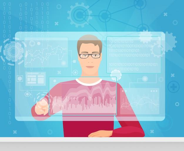 Programmatore software coder che utilizza lo schermo virtuale