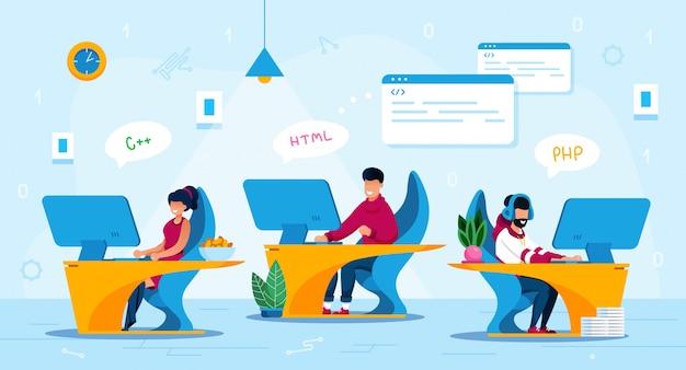 Programmatori startup team work flat concept