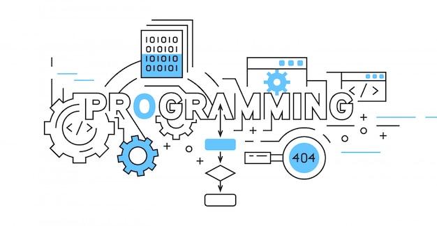 Programmazione del design di linee piatte in blu