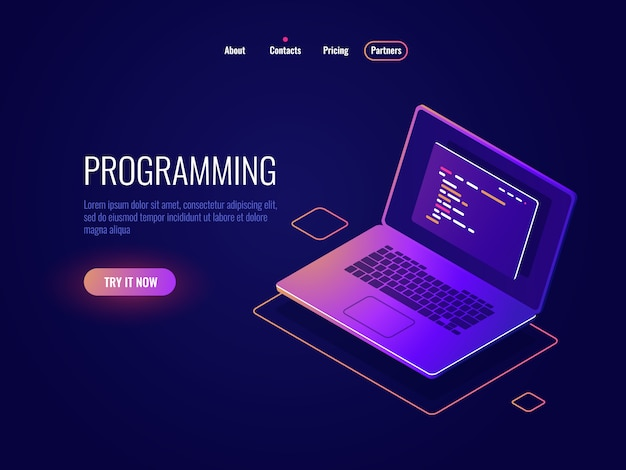 Programmazione e scrittura del codice icona isometrica, sviluppo software, laptop con testo del codice del programma