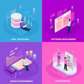 Programmazione freelance concetto isometrico 2x2 con icone umane e immagini infografiche con didascalie di testo modificabili